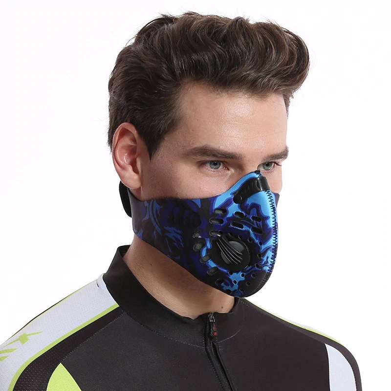 Υπαίθρια καμουφλάζ Αδιάβροχη αθλητική μάσκα με αναπνευστική βαλβίδα Αντιανεμική αναπνεύσιμη Unisex για ποδήλατο / Πεζοπορία / Τρέξιμο - Μπλε