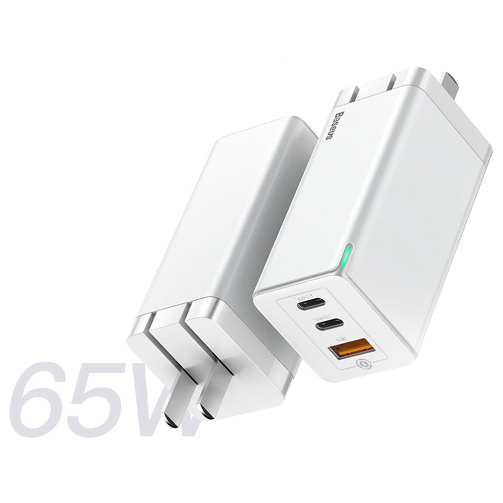Baseus GaN 65W QC4.0 PD3.0 Triple Output 2 * Type-C 1 * USB Mini Wall Charger Universal Travel Charger for Samsung S10 iPhone 11 Pro Max HUAWEI P40 Pro Xiaomi Mi 10 Notebook Tablet EU Plug - أبيض