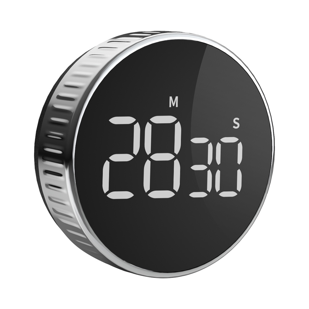Hommini Round Magnetic Timer LCD Display Beep Alarm Max Setting 99 Minutes for Kitchen Cooking Reminder - Noir