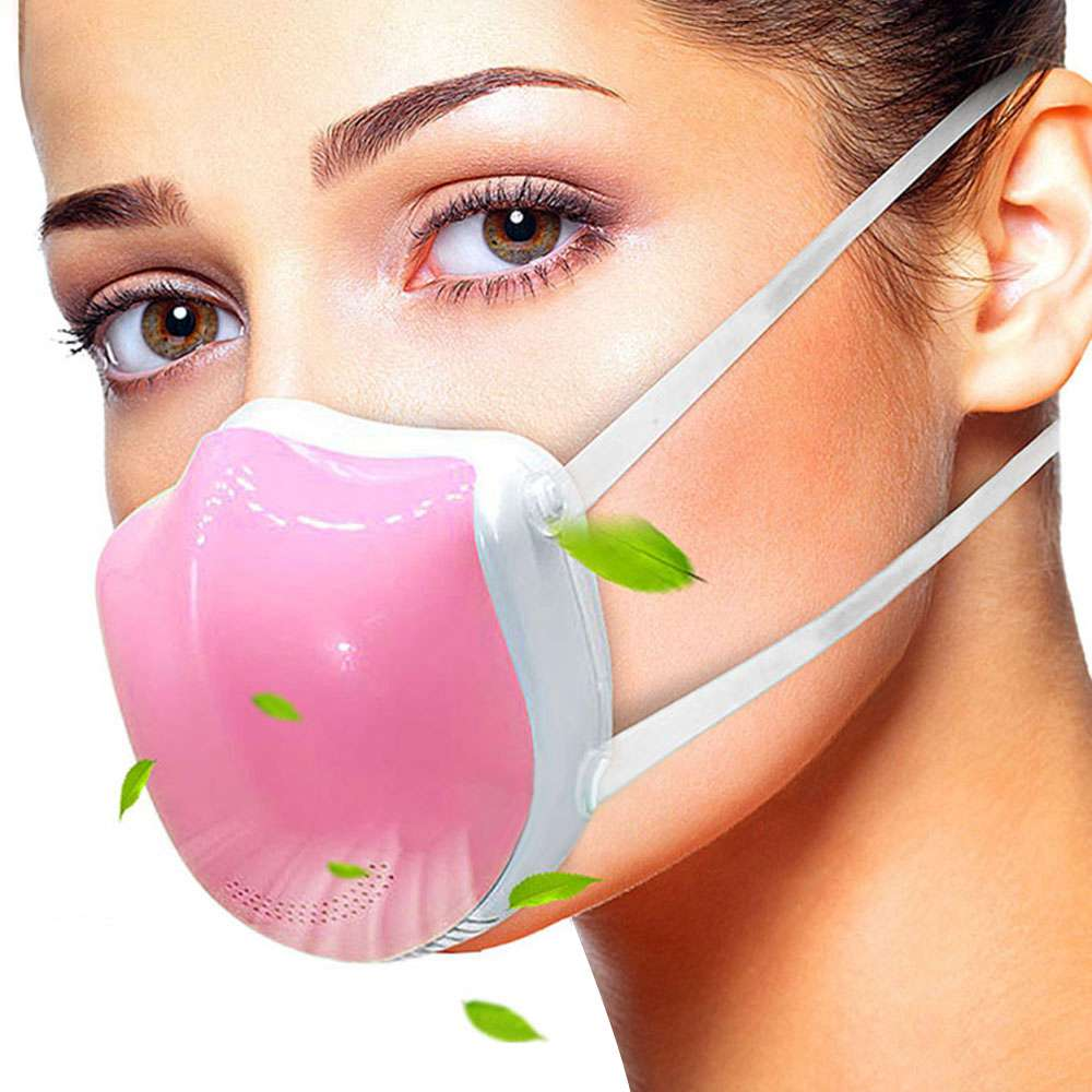 Reusable Smart Electric N95 Face Mask Q5 Pro With Activated carbon filter, Automatic Air-Purifying Supply with 2PCS Replacement Filters For PM2.5 Anti-Pollution Exhaust Gas Pollen Allergy - Pink