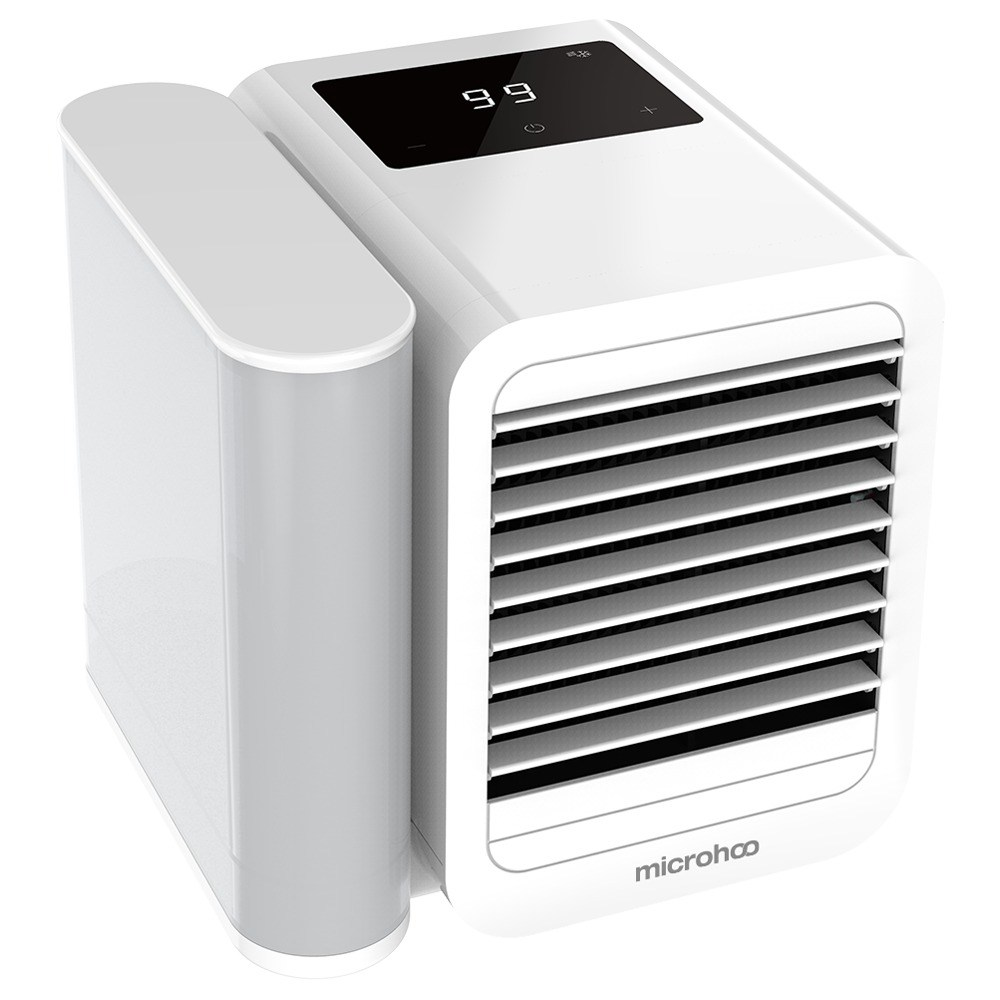Portable Summer Air Conditioning Fan Refrigeration Humidification Purification Three-in-one Adjustable Wind Speed Angle 1000ml Removable Water Tank USB Type-C Interface - White