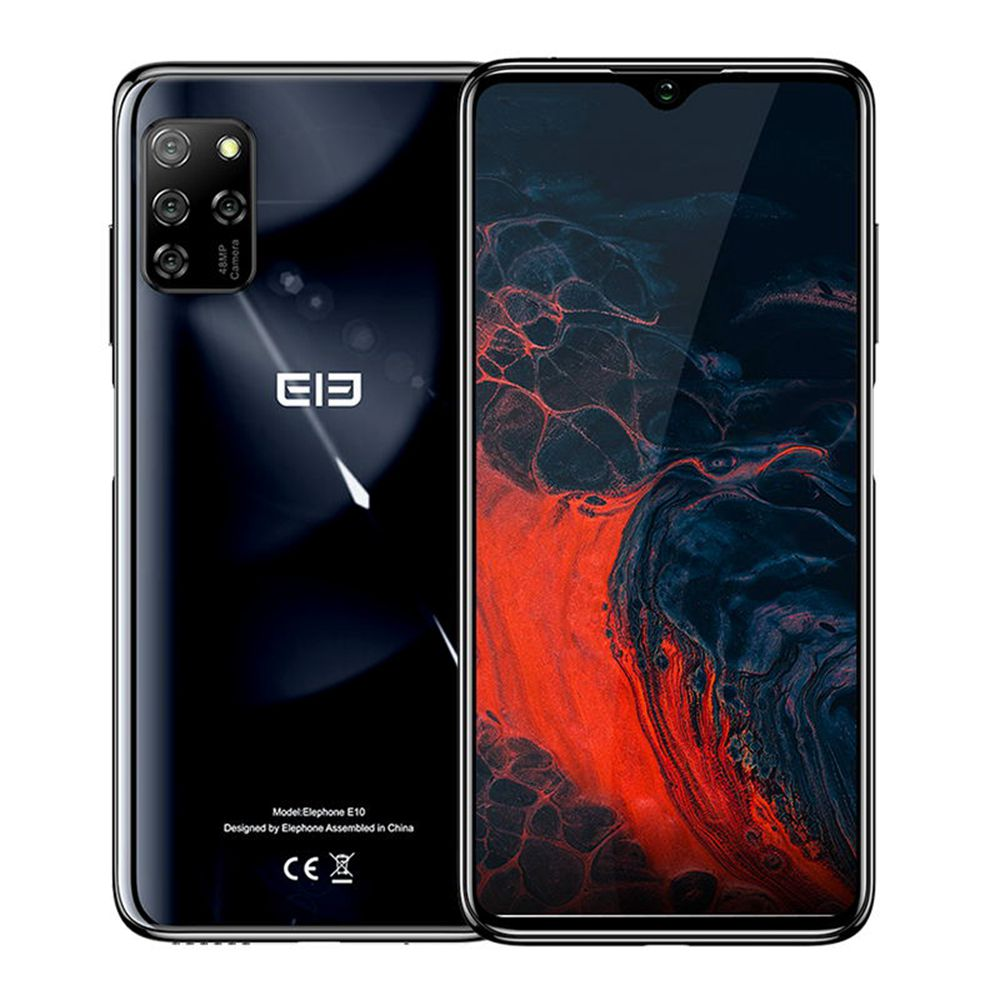 Elephone E10 Global Version 6.5 Inch 4G LTE Smartphone MT6762D 4GB RAM 64GB ROM Quad Rear Cameras Android 10 NFC 4000mAh Battery Dual SIM Dual Standby - Black