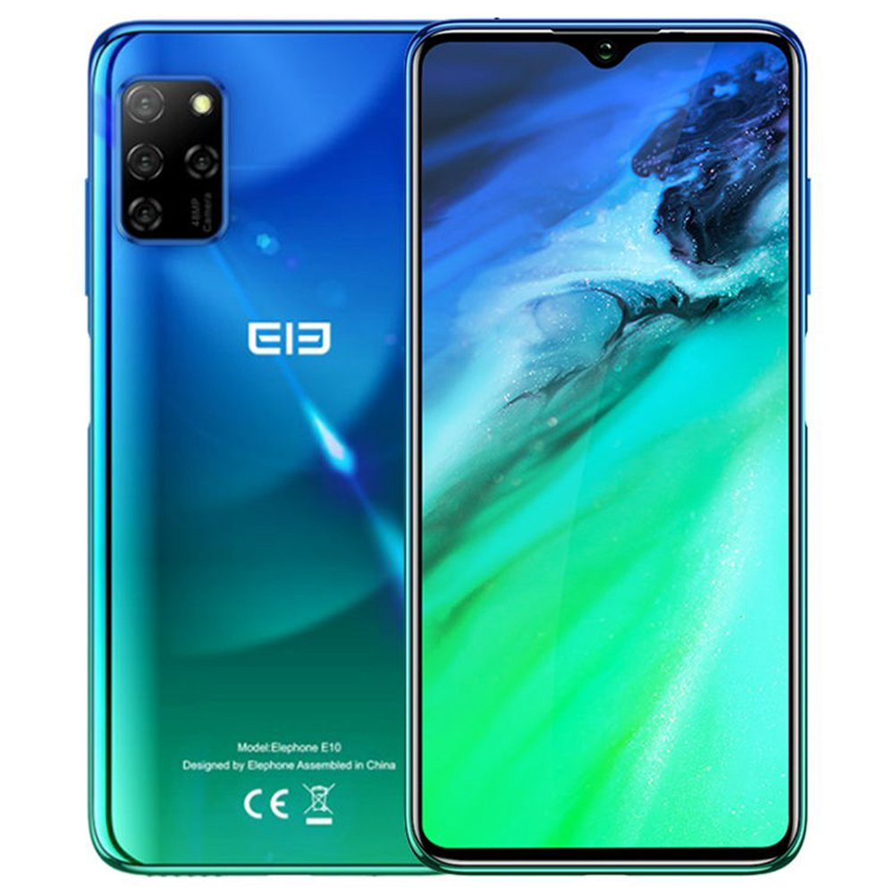 Elephone E10 Global Version 6.5 Inch 4G LTE Smartphone MT6762D 4GB RAM 64GB ROM Quad Rear Cameras NFC Android 10 4000mAh Battery Dual SIM Dual Standby - Blue