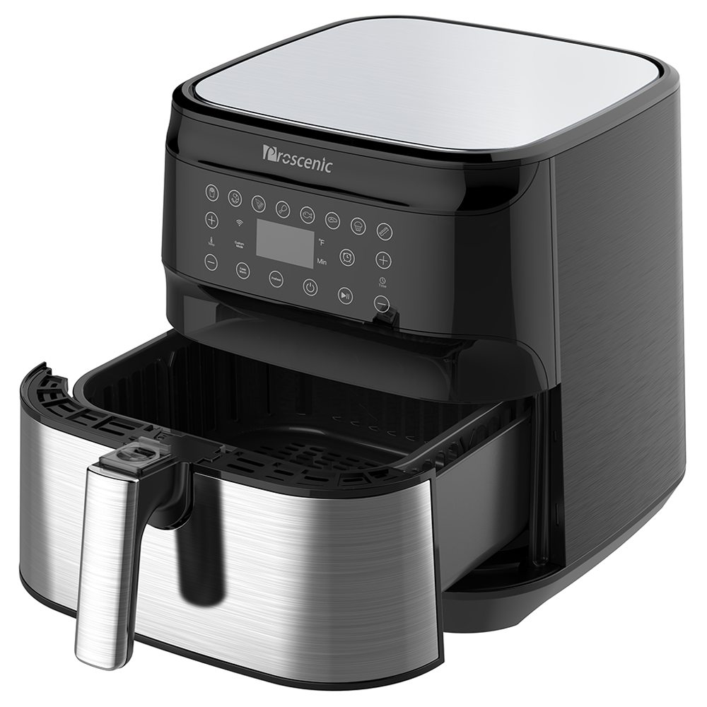 Proscenic T21 Smart Electric Air Fryer 1700W Touchscreen LED antiaderente con controllo vocale e pan - Nero
