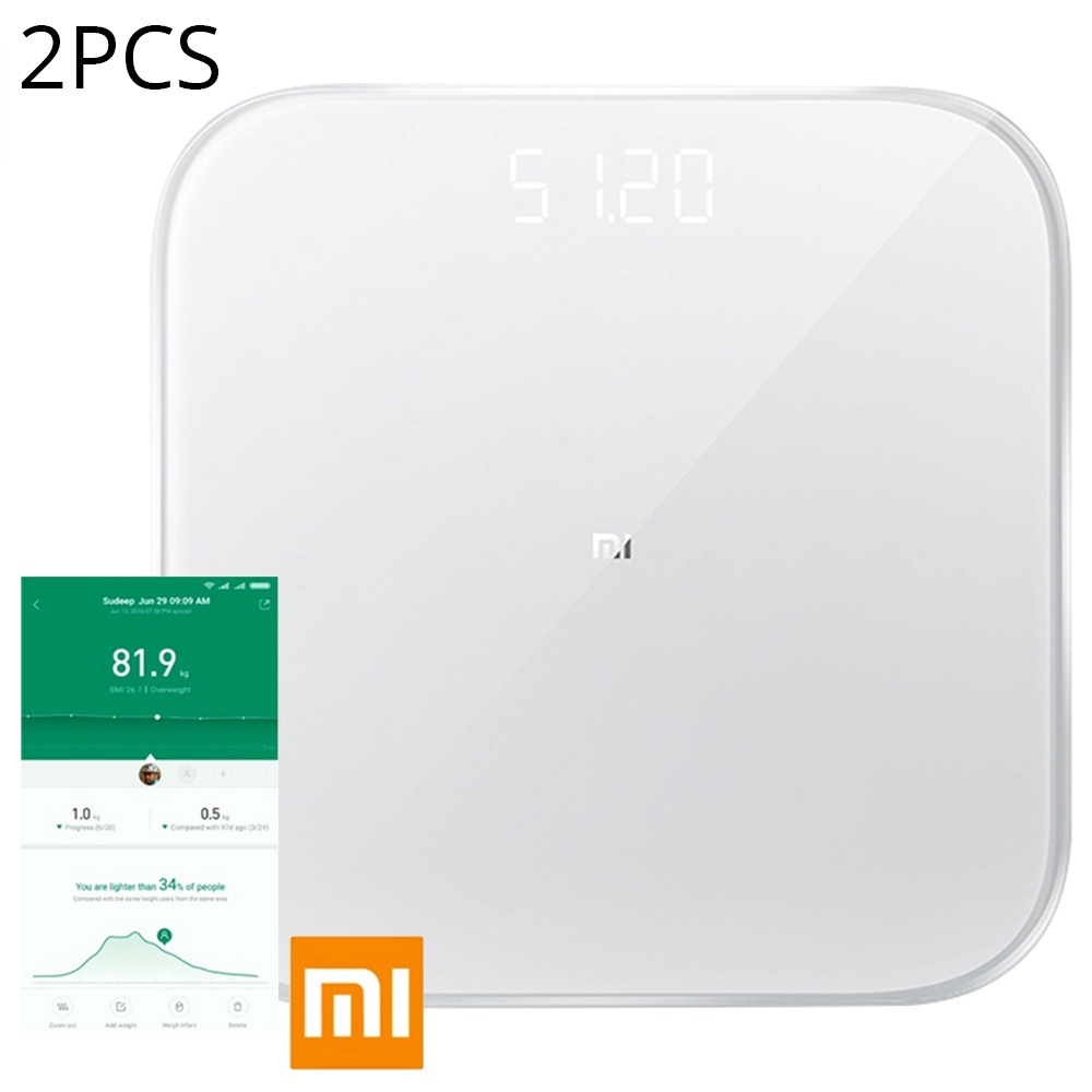 2PCS Xiaomi Smart Body Weight Scale 2 Bluetooth 5.0 APP-controle LED-display Fitness Yoga Tools Weegschaal Wereldwijde versie - Wit