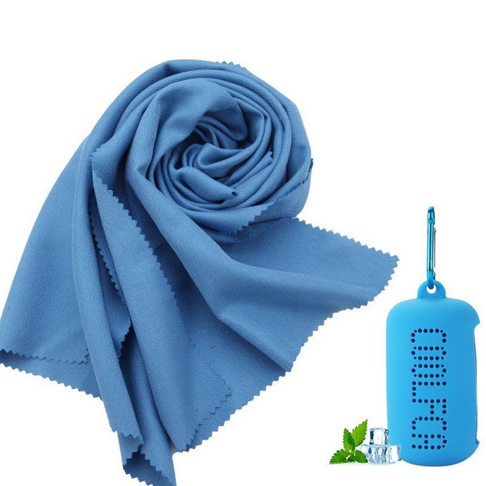 Φορητή, γρήγορη ξήρανση, πετσέτα ψύξης, εξαιρετικά λεπτή ίνα με μανίκι σιλικόνης για ταξίδια εξωτερικού χώρου Fitness 30 x 100cm - Μπλε