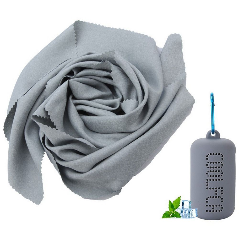 Portable Quick-drying Cooling Towel Superfine Fiber With Silicone Sleeve For Travel Outdoor Fitness 30 x 100cm - Gray