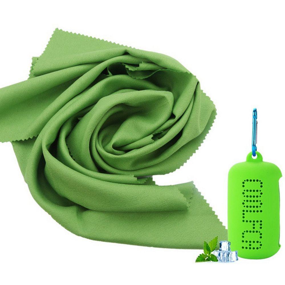 旅行用屋外用フィットネスシリコンスリーブ付きポータブル速乾性冷却タオルスーパーファインファイバー30 x 100cm-グリーン