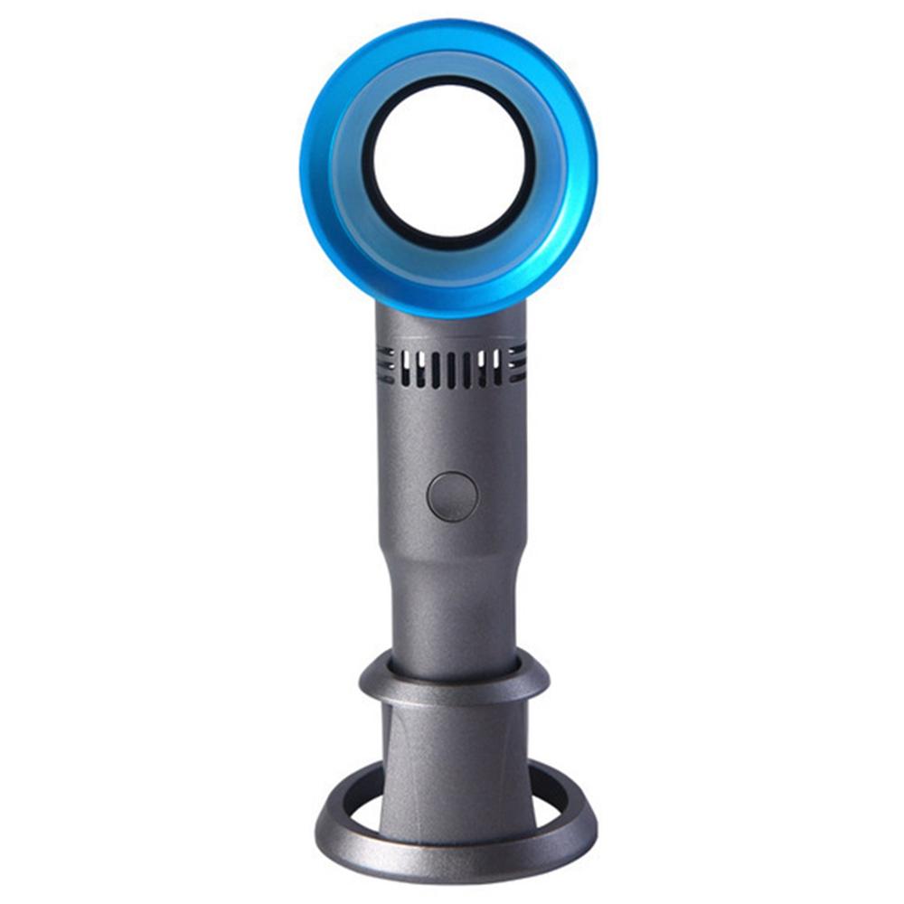 Φορητό χειροκίνητο κουμπί χωρίς ανεμιστήρα Χειροκίνητο κουμπί Φόρτιση USB Μπαταρία 2000mAh Τρεις ταχύτητες ανέμου Αποσπώμενη βάση Καλοκαίρι Ψύξη - Μπλε