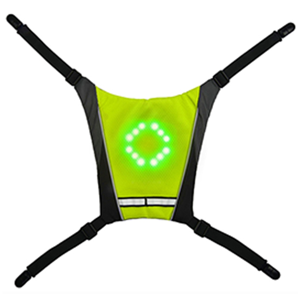 YKBA-B0011サイクリングLED信号警告ベストリモートコントロール自転車を走らせるためのUSB充電-緑