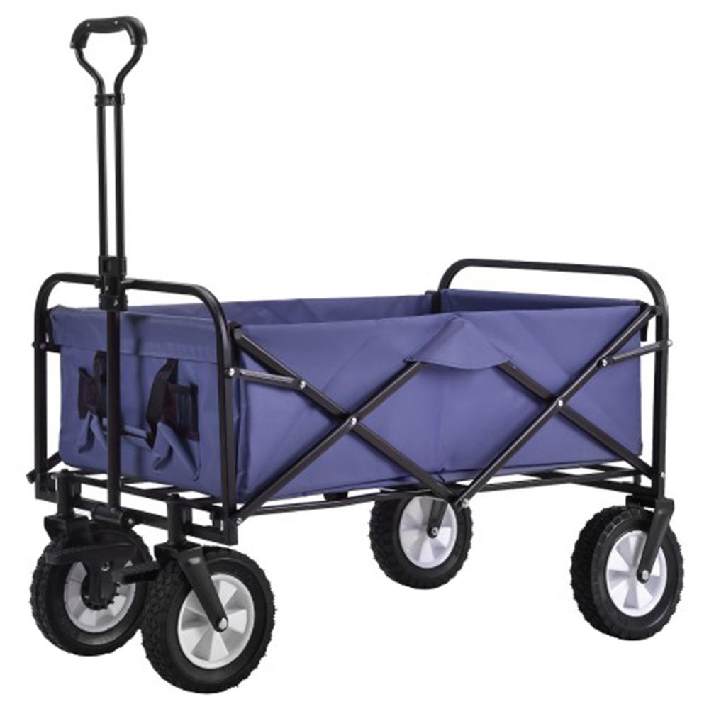 96L Εξωτερική Πτυσσόμενη Πολυλειτουργική Τρόλεϊ Καουτσούκ Ρόδα φρένων Ρυθμιζόμενη λαβή Μέγιστο φορτίο 80 κιλά Με πλέγμα για στήριγμα για κηπουρική Κάμπινγκ Αγορές - Μπλε