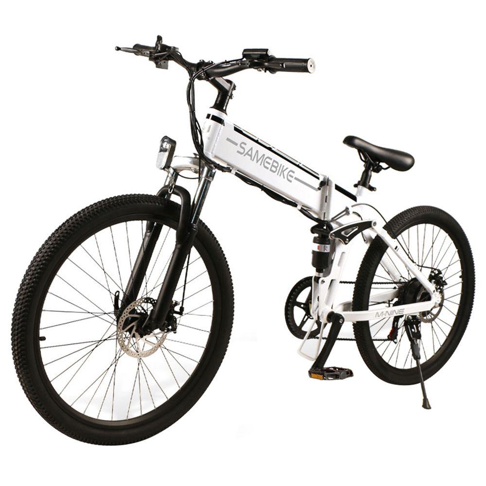 Samebike LO26 Smart Folding Electric Moped Bike 26 Inch Φουσκωτό ελαστικό ελαστικό 500W Κινητήρας Μέγιστη ταχύτητα 30km / h 10Ah Μπαταρία λιθίου Μέγιστο φορτίο 150kg Διπλό δισκόφρενο Οθόνη LCD - Λευκό