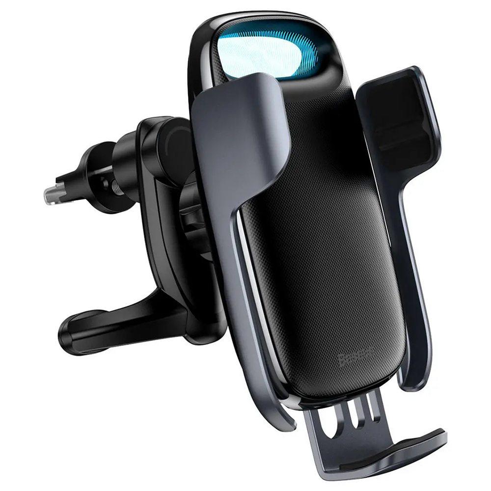 """Baseus Wireless Qi 15W QC 3.0 Support de téléphone de ventilation rotatif pour voiture à chargement rapide pour smartphone de 4.7 """"-6.5"""" - Noir"""
