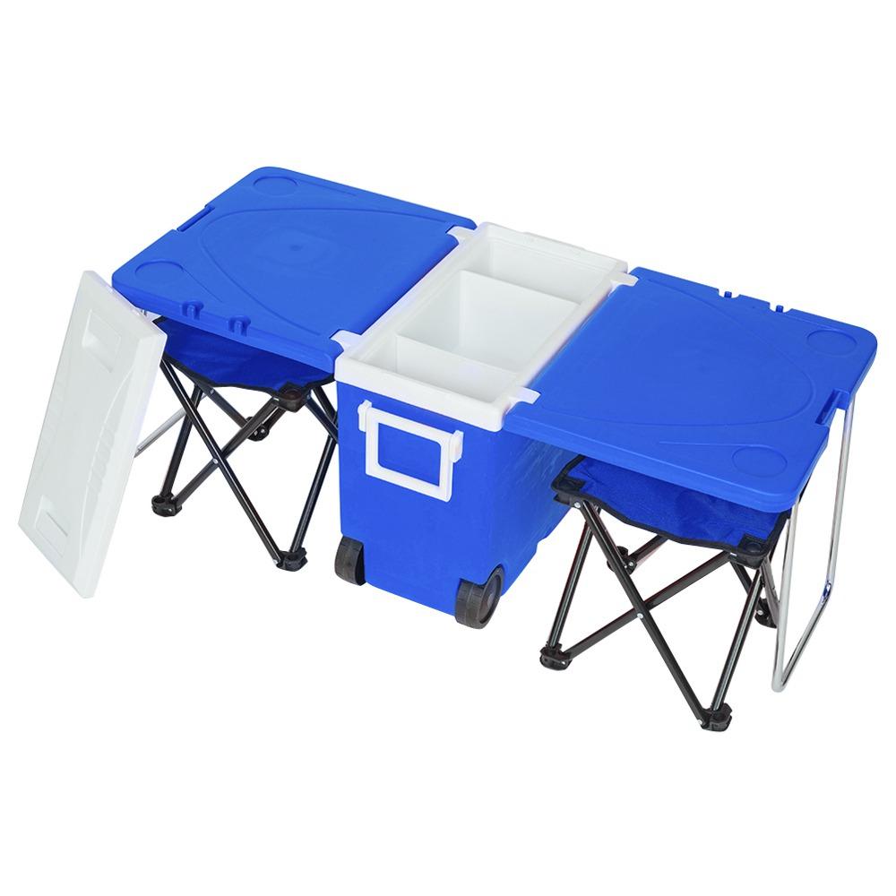 ピクニックハイキング用のXNUMXつのスツール付き屋外ポータブル多機能折りたたみ冷蔵庫冷却機能断熱材-青