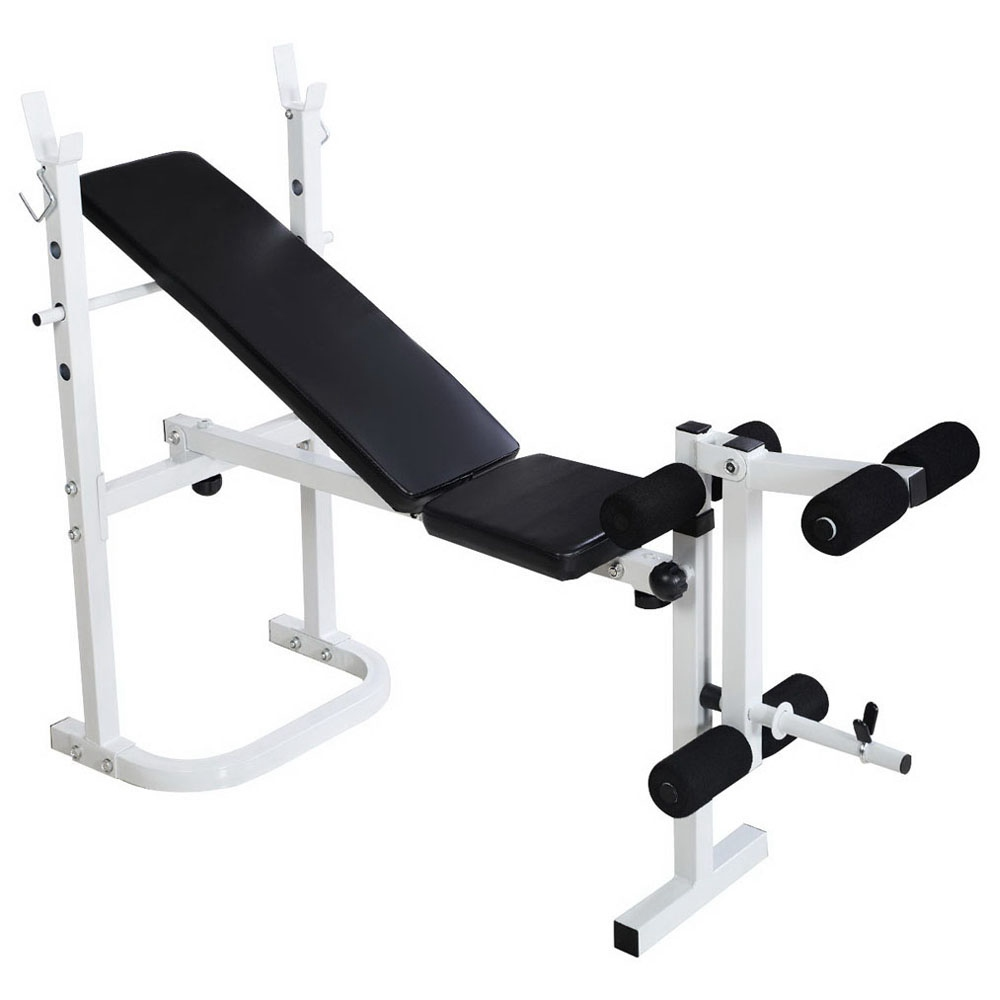 N-008 Folding Multi-function Fitness Weightlifting Bed Build Muscle Resistance Training Adjustable Angle - White