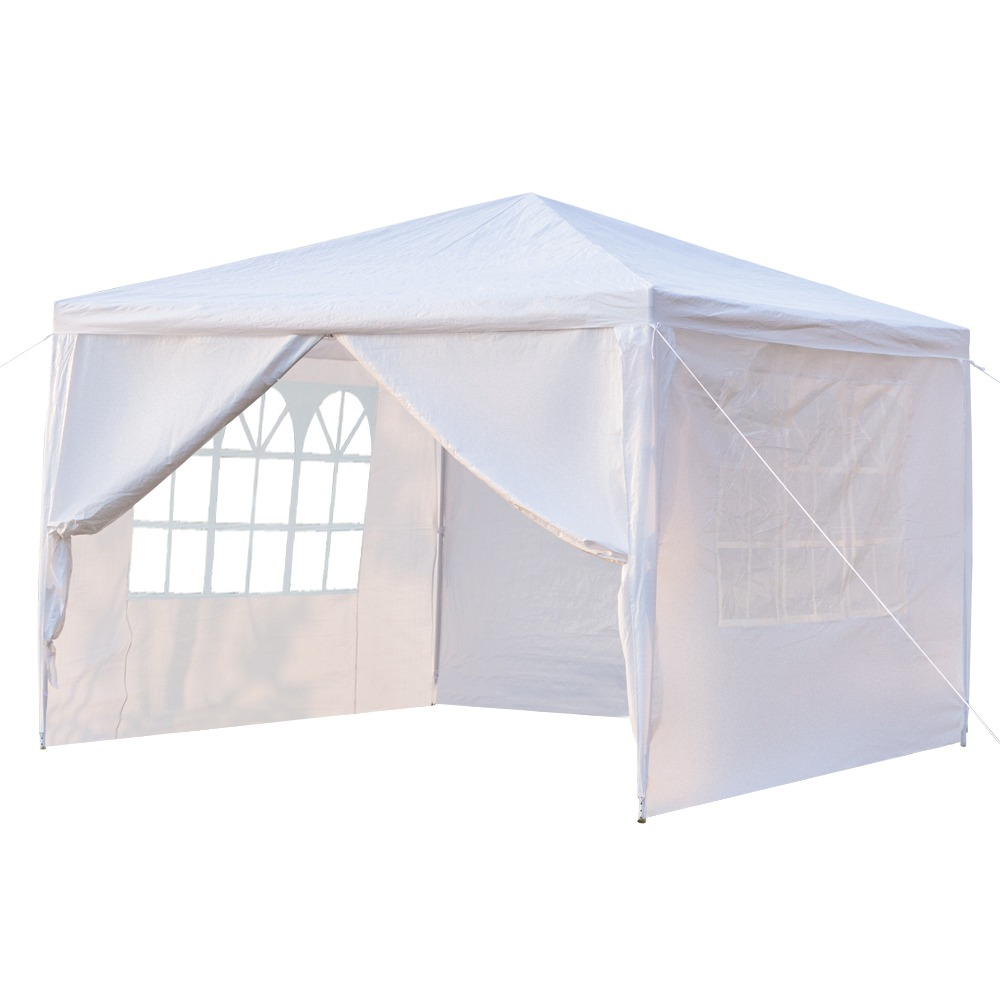 Portable 3 x 3m Four Sides Outdoor Waterproof Awning For Wedding / Camping / Parking / Party - White