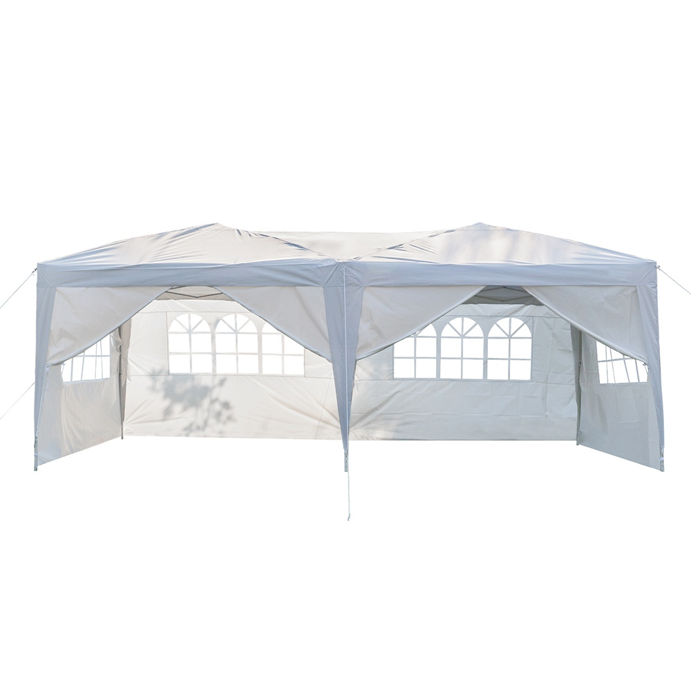 Portable 3 x 6m Six Sides Four Windows Outdoor Waterproof Folding Awning For Wedding / Camping / Parking / Party - White