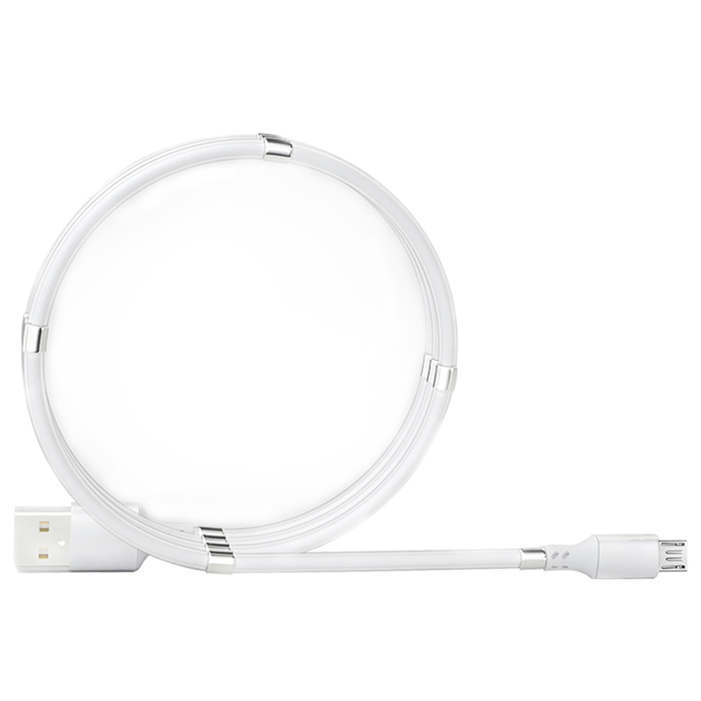 0.9m Micro Interface Magnetic Absorption Charging Data Cable - White