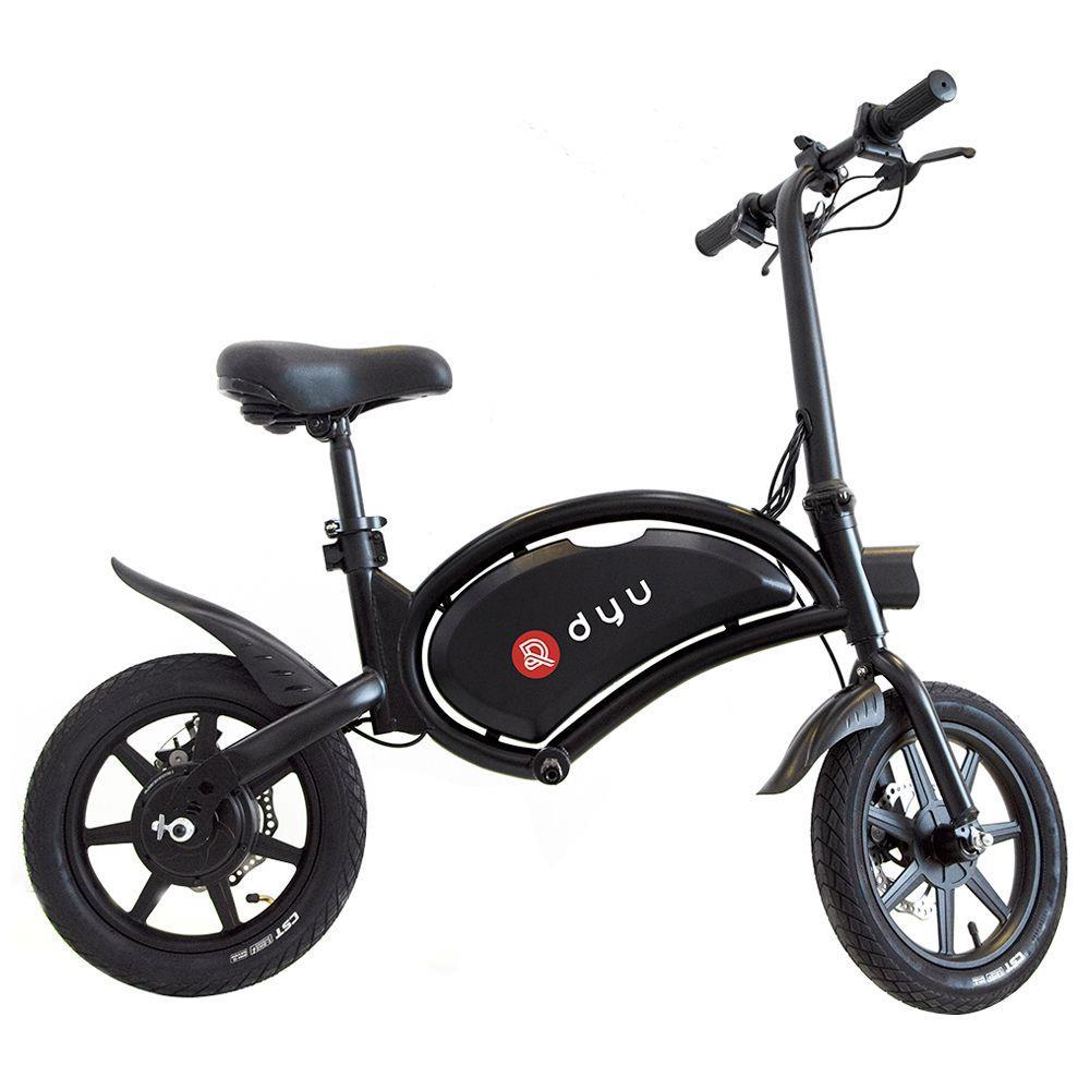 DYU D3F Bicicletta elettrica pieghevole ciclomotore 14 pollici pneumatici gonfiabili 240 W Velocità massima motore 25 km / h Gamma fino a 50 km Freni a doppio disco Altezza regolabile - Nero