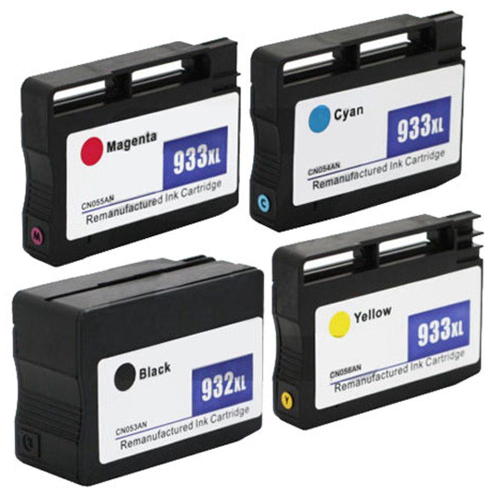 4PCS Cartuccia d'inchiostro HP 932 / 933XL 1BL / 1C / 1M / 1Y Stampa immagini antisbiadimento documenti - Nero