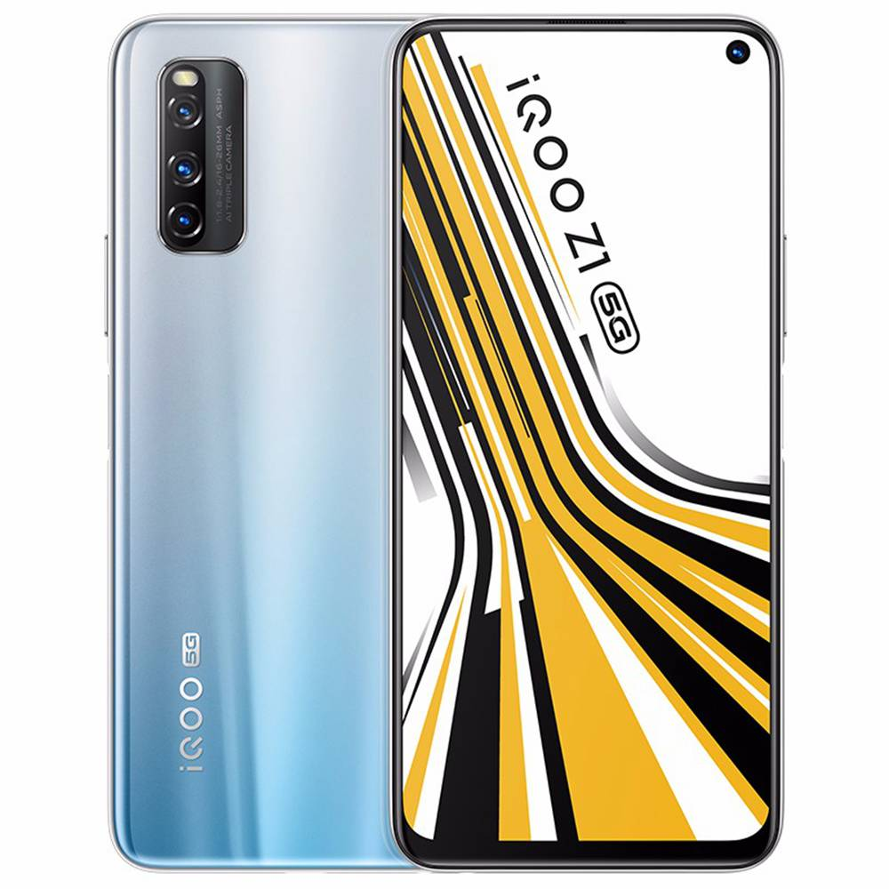 Vivo iQOO Z1 CN Version 5G Gaming Smartphone 6.57 Inch 144Hz Screen MTK 1000 Plus Octa Core Android 10.0 8GB RAM 256GB ROM 4500mAh Battery 44W Dash Charging - Silver