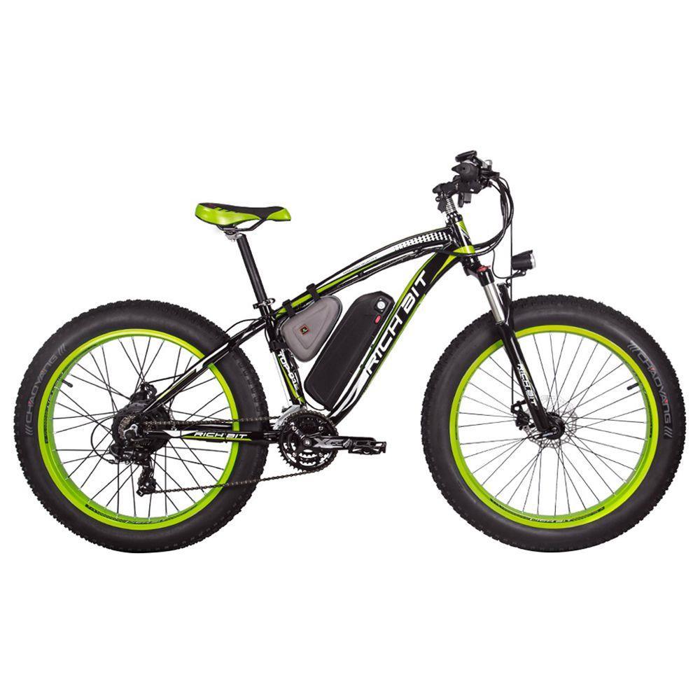 RICH BIT TOP-022 Bicicleta de montaña eléctrica Neumáticos de 26 '' Motor de 1000 W Velocidad máxima de 35 km / h Hasta 60 km Alcance Pantalla LCD de doble freno de disco - Negro Verde