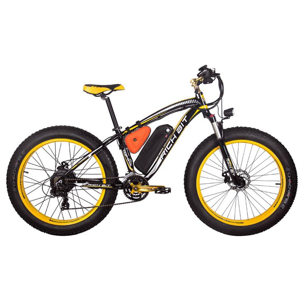 RICH BIT TOP-022 Bicicleta de montaña eléctrica Neumáticos de 26 '' Motor de 1000 W Velocidad máxima de 35 km / h Hasta 60 km Alcance Pantalla LCD de doble freno de disco - Negro Amarillo