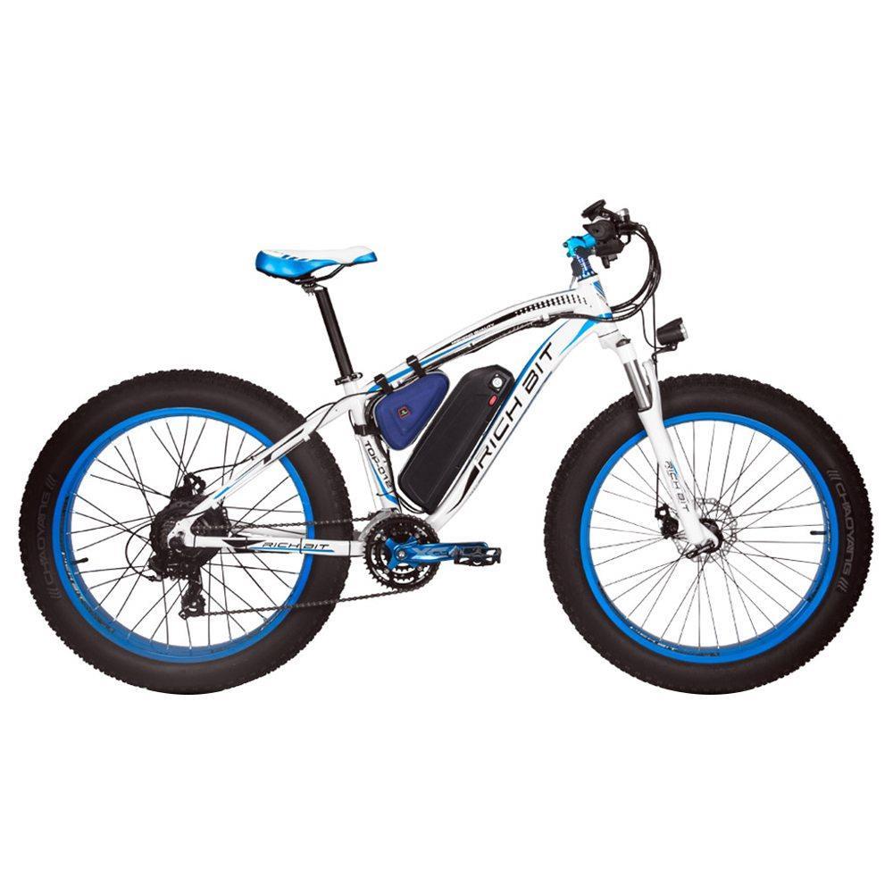 RICH BIT TOP-022 Bicicleta de montaña eléctrica Neumáticos de 26 '' Motor de 1000 W Velocidad máxima de 35 km / h Hasta 60 km Alcance Pantalla LCD de doble freno de disco - Blanco Azul