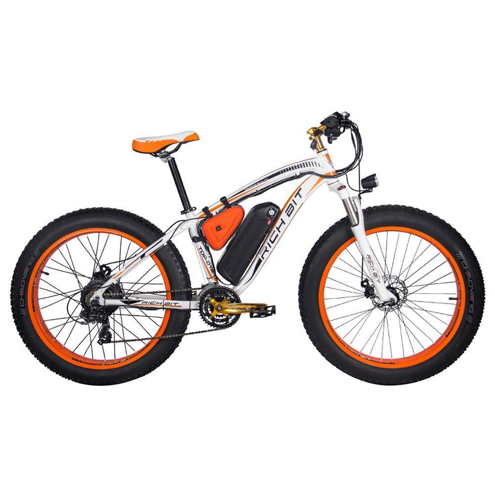 RICH BIT TOP-022 Bicicleta de montaña eléctrica Neumáticos de 26 '' Motor de 1000 W Velocidad máxima de 35 km / h Hasta 60 km Alcance Pantalla LCD de doble freno de disco - Blanco Naranja