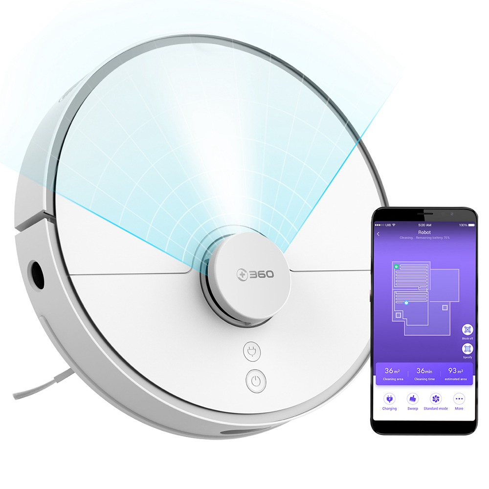 360 Smart Robot Vacuum Cleaner S5 LDS Laser Navigation 2000Pa Suction Japan Brushless Motor 65dB Low Noise APP Control 110min Runtime - White