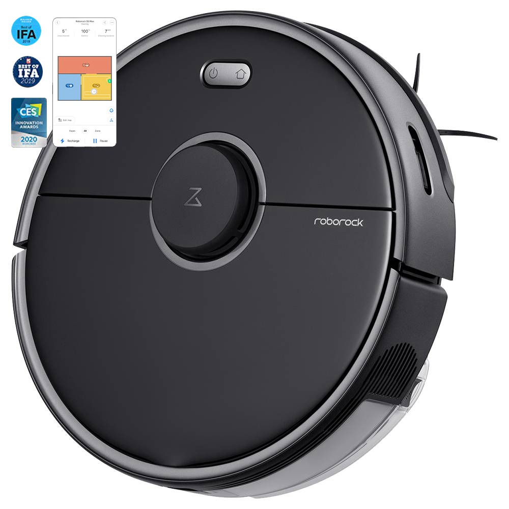 Roborock S5 Max Robot Vacuum Cleaner Virtual Wall Automatic Area Cleaning 2000pa Suction 2 in 1 Sweeping Mopping Function LDS Path Planning European Version - Black