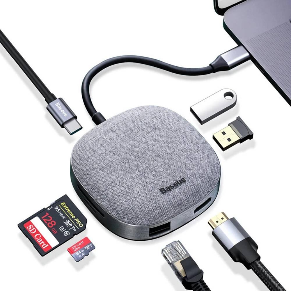 Baseus 7 az 1-ben többfunkciós HUB adapter 2 x USB 3.0 / C-típusú / 4K kimenettel / RJ45 Internet Port / Memóriakártya-olvasókkal MacBook Air / MacBook Pro / MacBook 12 / HUAWEI MateBook / iPad Pro / Samsung Galaxy Tab - Sötét szürke