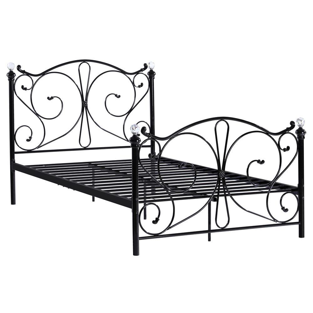 Vas kettős ágy 197 x 143 x 83 cm - fekete