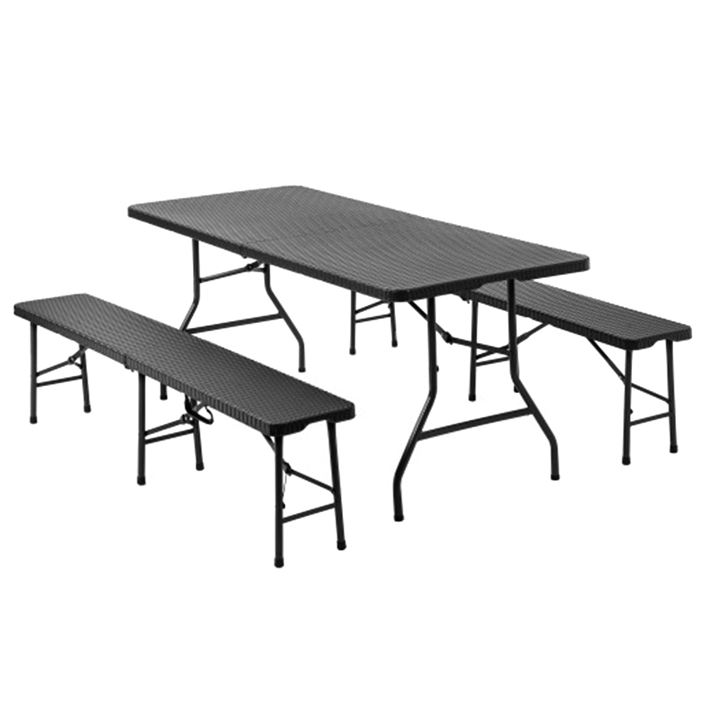 - 3PCS Portable Folding Table Chair Set Black
