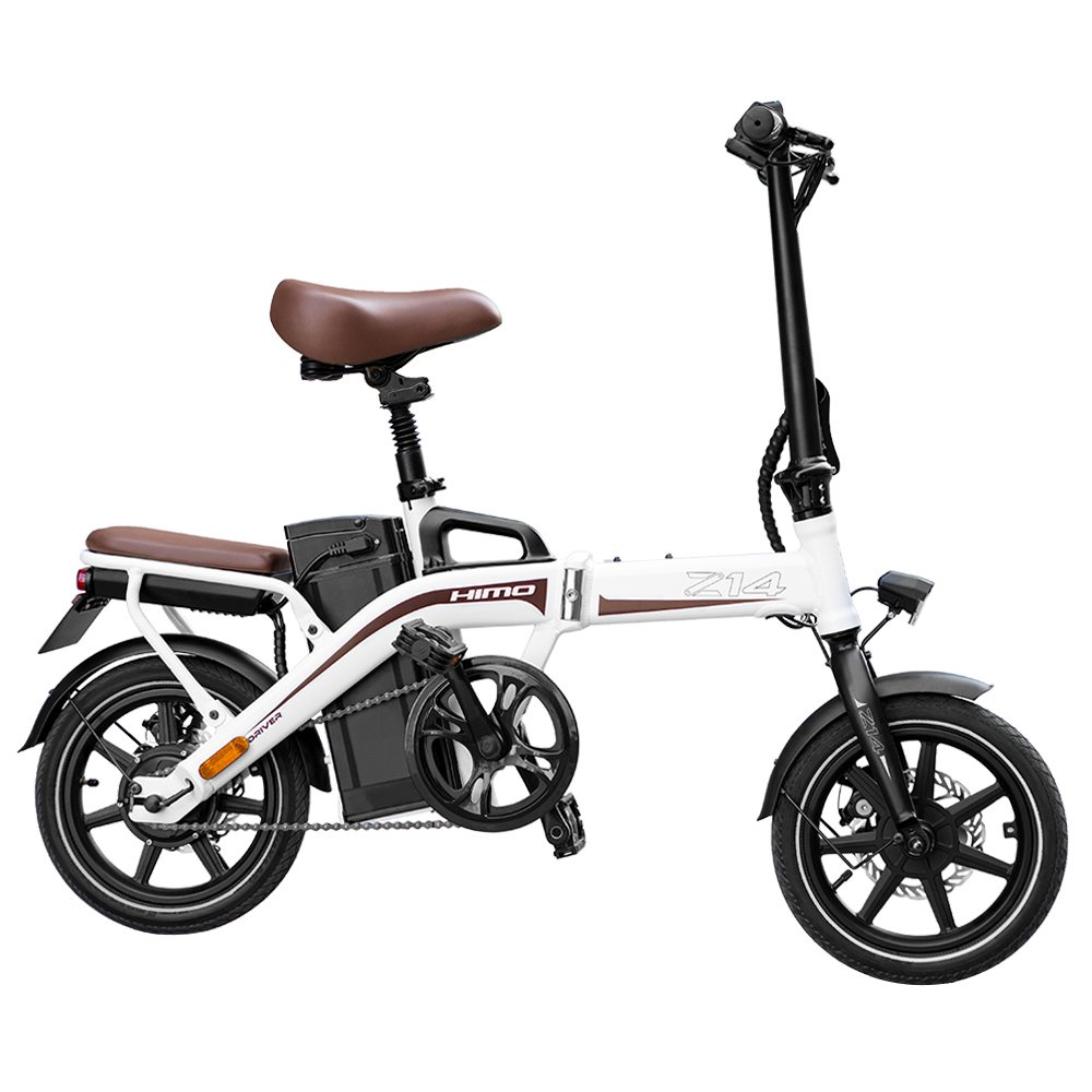HIMO Z14 Folding Electric Bicycle 14 Inch 350W Brushless Motor Three Modes Maximum Speed 25km/h Up To 80km Range 12AH Lithium Battery Maximum Load 100kg Hidden Inflator Standard Edition - White