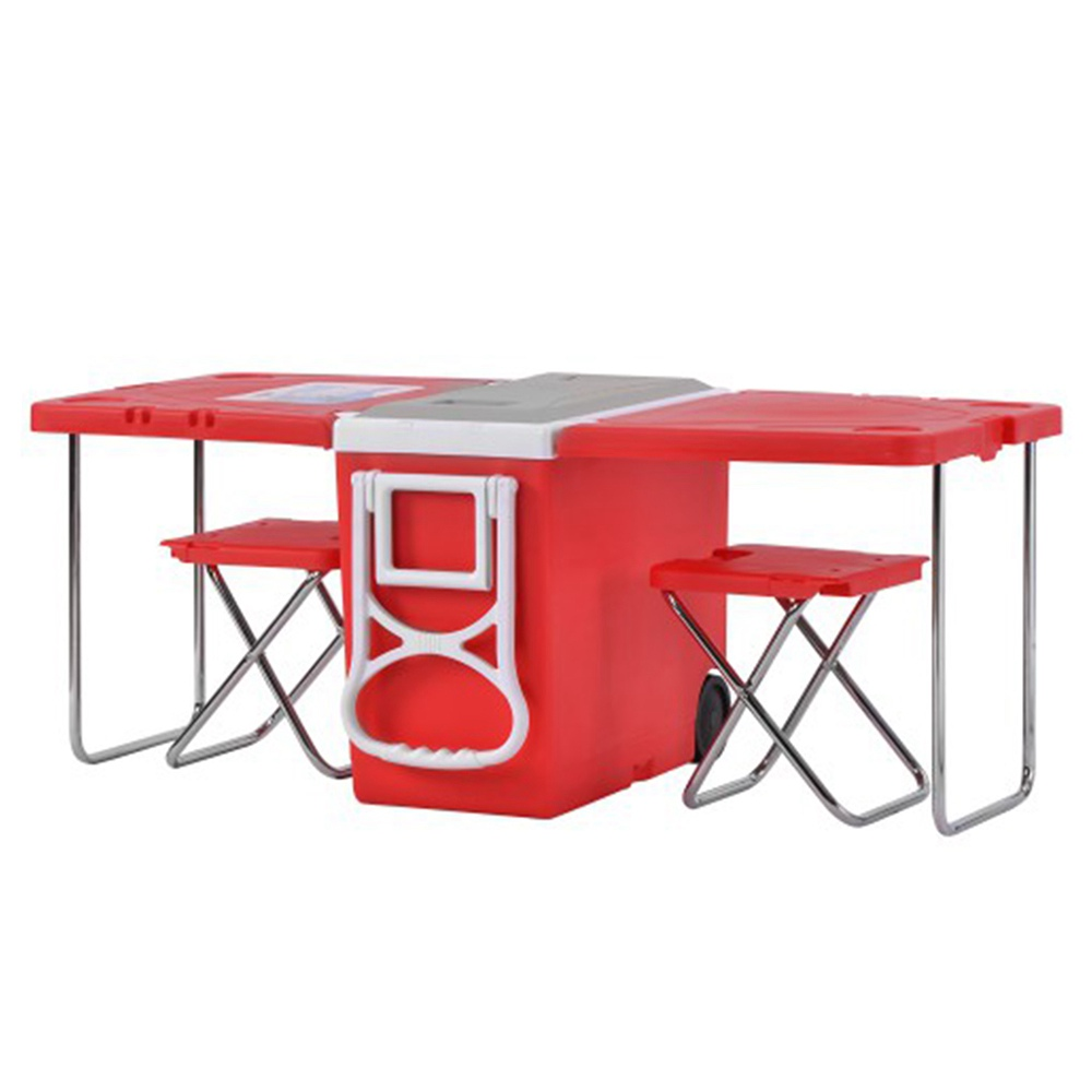 Outdoor Portable Multifunctional Folding Refrigerator Red