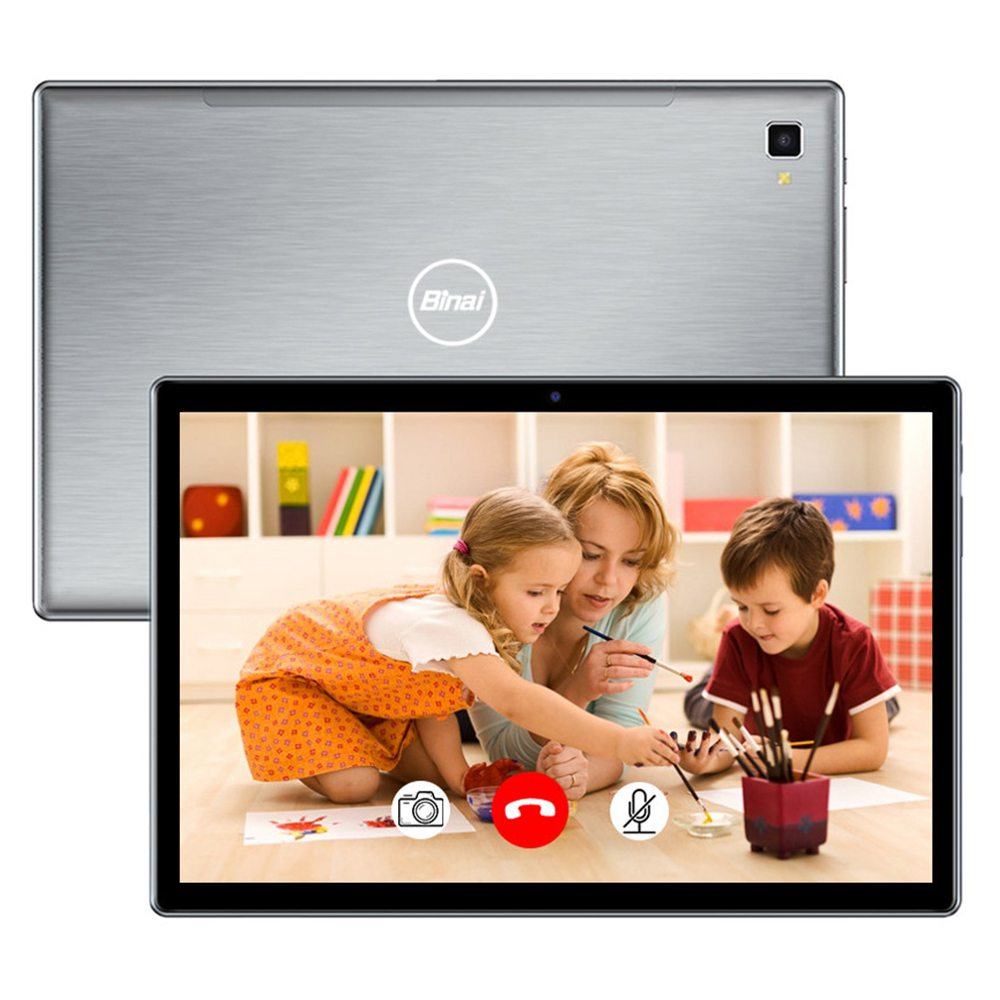 Binai M11 4G Tablet PC SC9863A Octa Core 10.1 Inch 1920 x 1200 IPS Screen Android 10.0 6GB LPDDR3 128GB eMMC Dual Camera 6000mAh Battery Global Version - Black