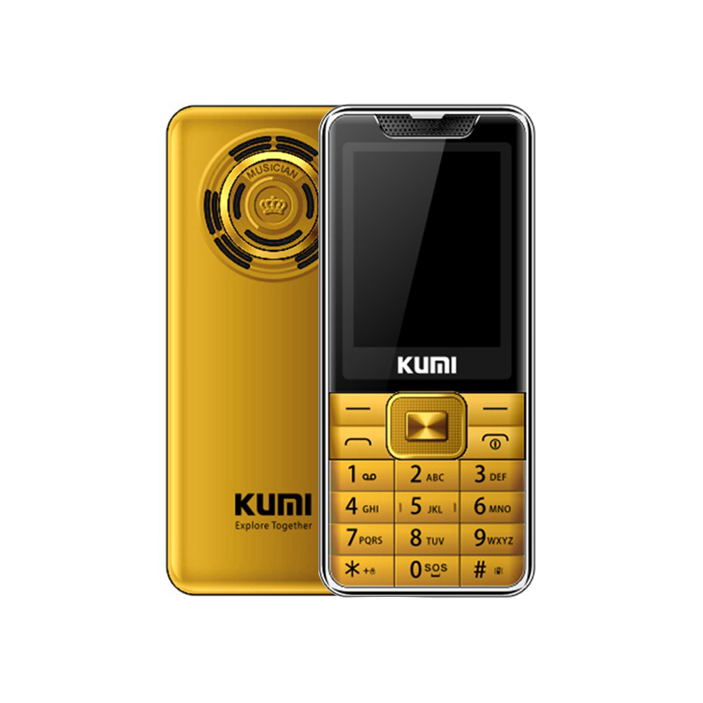 KUMI Mi1 With Infrared Thermometer Function Phone Global Version 2.4 Inch TFT Screen 32MB RAM 32MB ROM 1700mAh Battery Dual SIM Dual Standby One Key SOS  - Gold