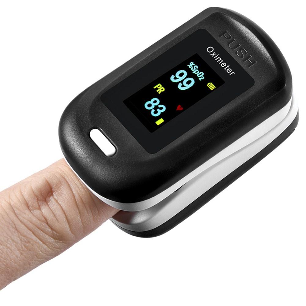 Hordozható, ujjbeggyel pulzus-oximéter, vér-oxigén, pulzusszám-telítettség-monitor, LCD kijelző, otthoni fizikai egészség oximéter, zsinórral - fekete + fehér