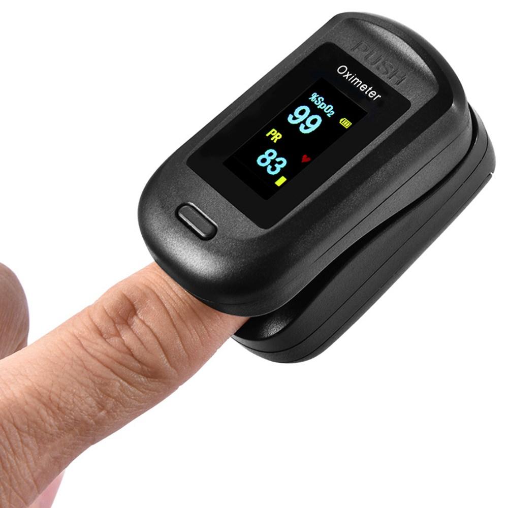 Przenośny pulsoksymetr palca Tlenometr Tętno Monitor tętna Wyświetlacz LCD Domowy zdrowie fizyczne oksymetr - czarny