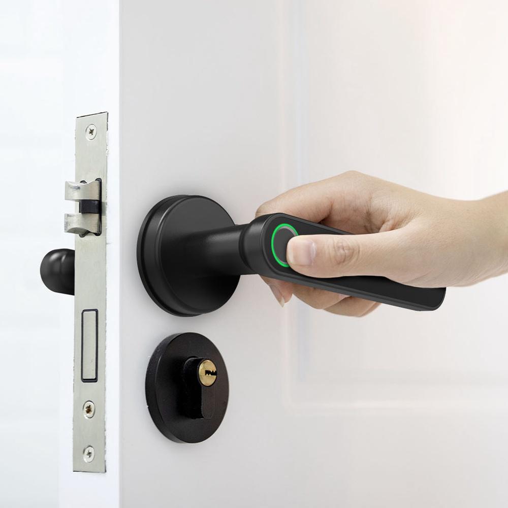 Exitec H03 Smart Fingerprint-Schlüsselschloss mit biometrischem, schlüssellosem mechanischen Griff mit Bluetooth, App-Unterstützung, mehrsprachig, links und rechts, kompatibel mit einer Dicke von 35-58 mm für den Eingang der Haupttür, Hauptzimmer, Zuhause, Hotel, Apartment, Schule