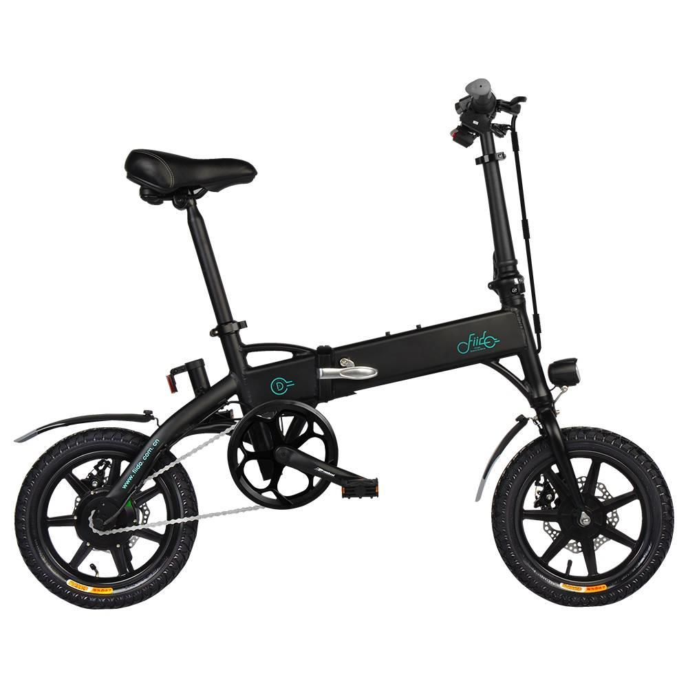 FIIDO D1 Folding Electric Moped Bike City Bike Commuter Bike Three Riding Modes 14 Inch Tires 250W Motor 25km/h 10.4Ah Lithium Battery 40-55KM Range - Black