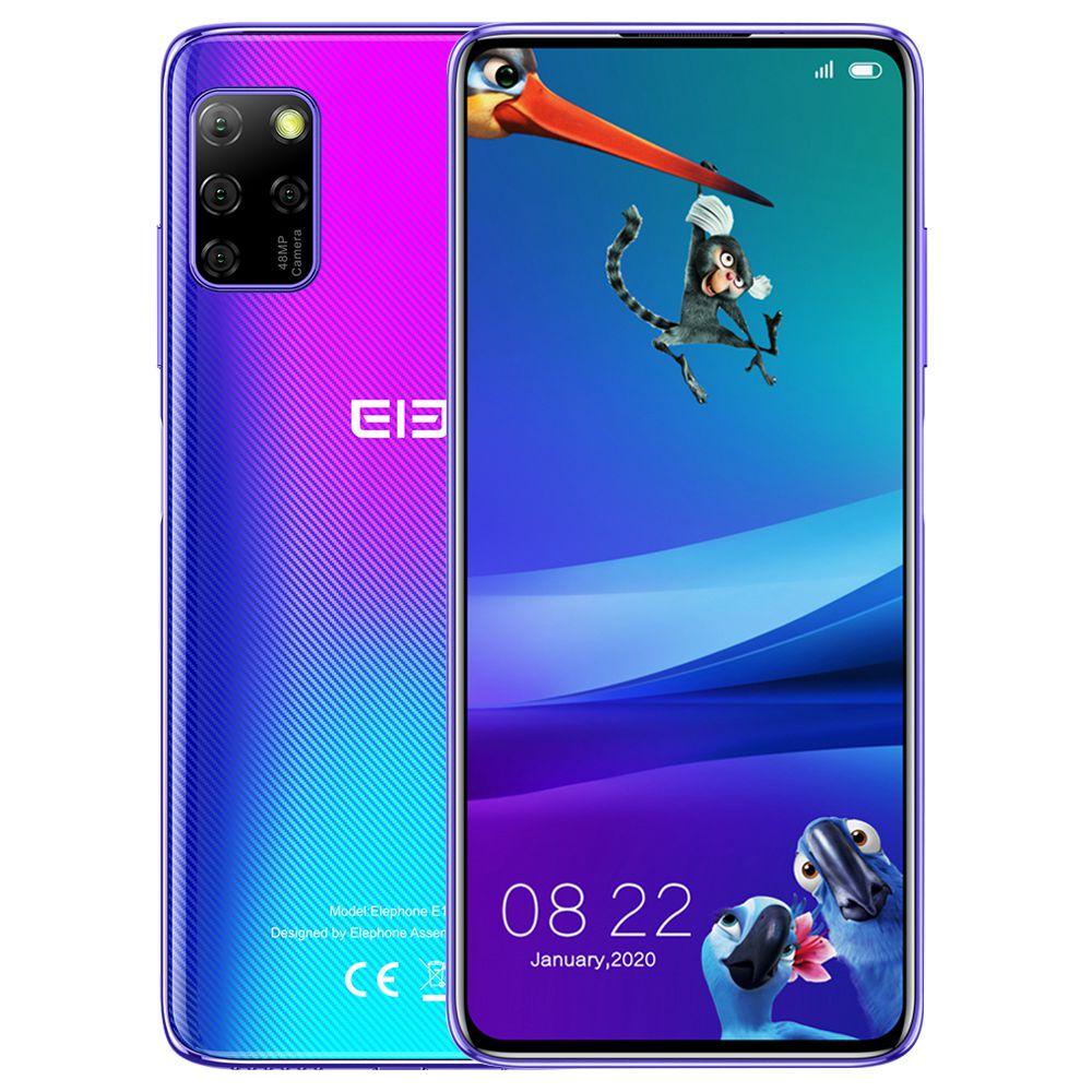 Elephone E10 Pro Globale Version 4G LTE Smartphone 6.55 Zoll TFT-Bildschirm MT6762D 4 GB RAM 128 GB ROM Android 10.0 Quad Rückfahrkamera 4000 mAh Akku - Blau