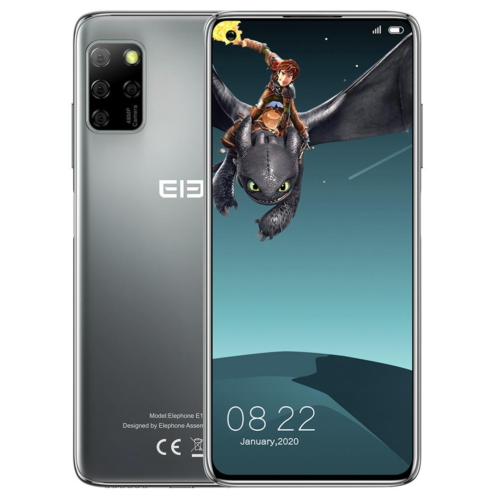 Elephone E10 Pro Globale Version 4G LTE Smartphone 6.55-Zoll-TFT-Bildschirm MT6762D 4 GB RAM 128 GB ROM Android 10.0 Quad-Rückfahrkamera 4000 mAh Akku - Grau