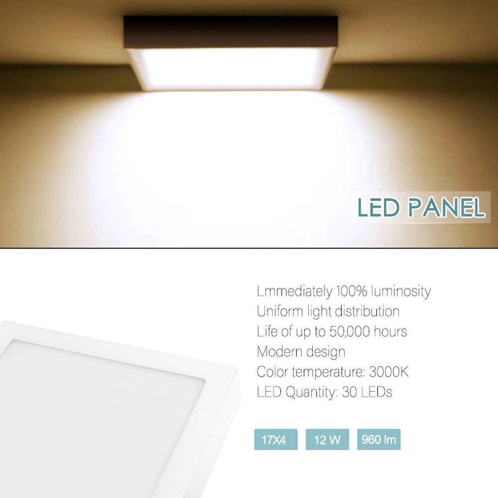 220v 12w Surface Mounted Panel Light Cool White Square
