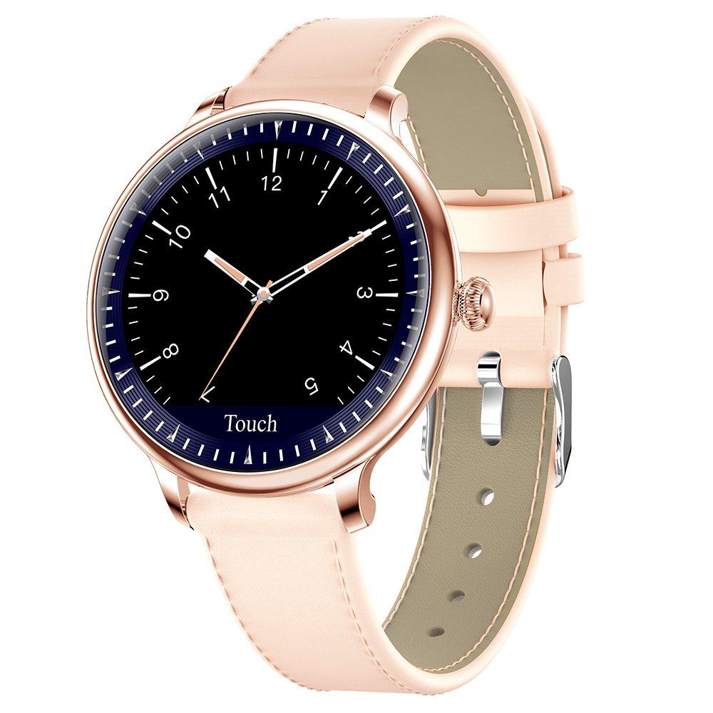Makibes NY12 Women Smartwatch مراقب ضغط الدم 1.08 بوصة IPS شاشة IP67 مقاومة للماء معدل ضربات القلب تعقب النوم حزام جلد - ذهبي
