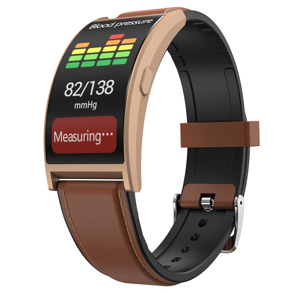 Makibes T20 Smart Band Blood Pressure Monitor 1.5 Inch Curved Screen IP67 Water Resistant Heart Rate Sleep Tracker Leather Strap - Gold