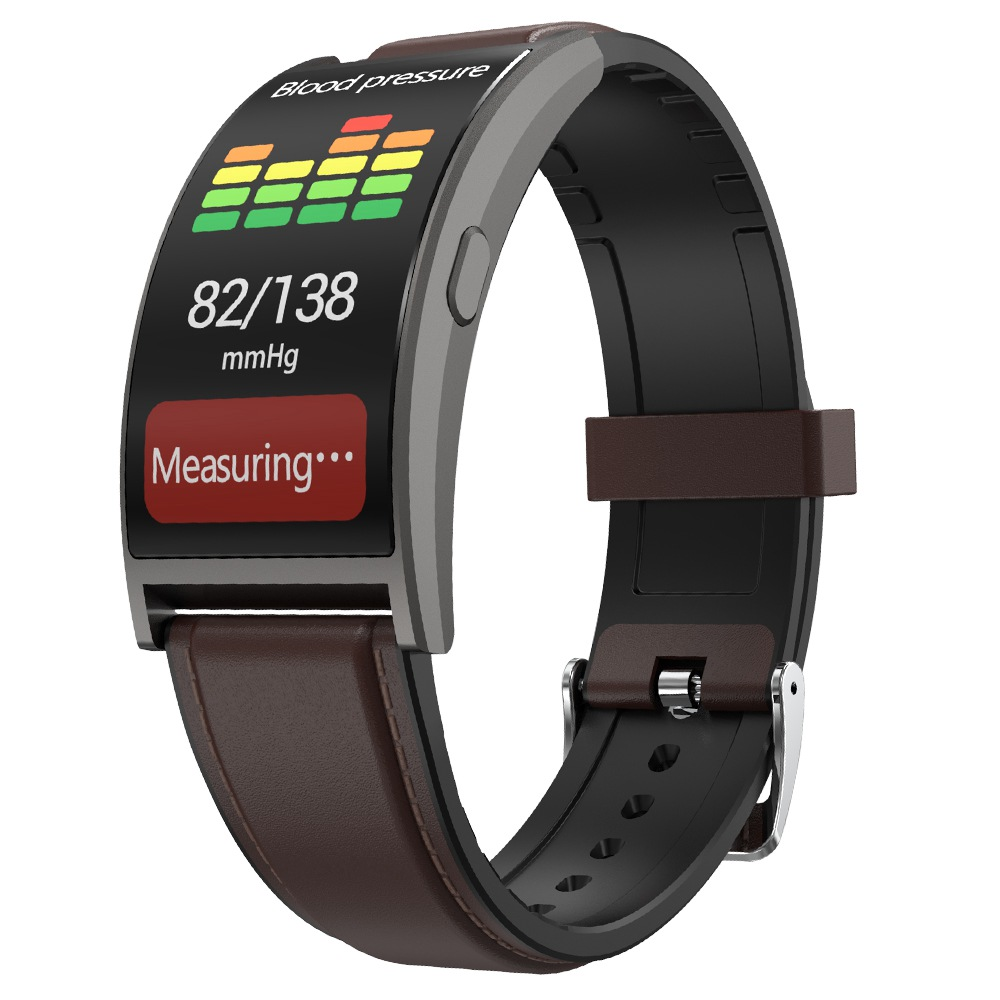 Makibes T20 Smart Band Blood Pressure Monitor 1.5 Inch Curved Screen IP67 Water Resistant Heart Rate Sleep Tracker Leather Strap - Gray