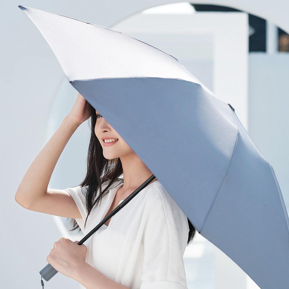 Ombrello ribaltabile retromarcia completamente automatico portatile 90FUN UPF50 anti-UV + ombrello antivento resistente al vento tre pieghevoli da Xiaomi Youpin - Grigio