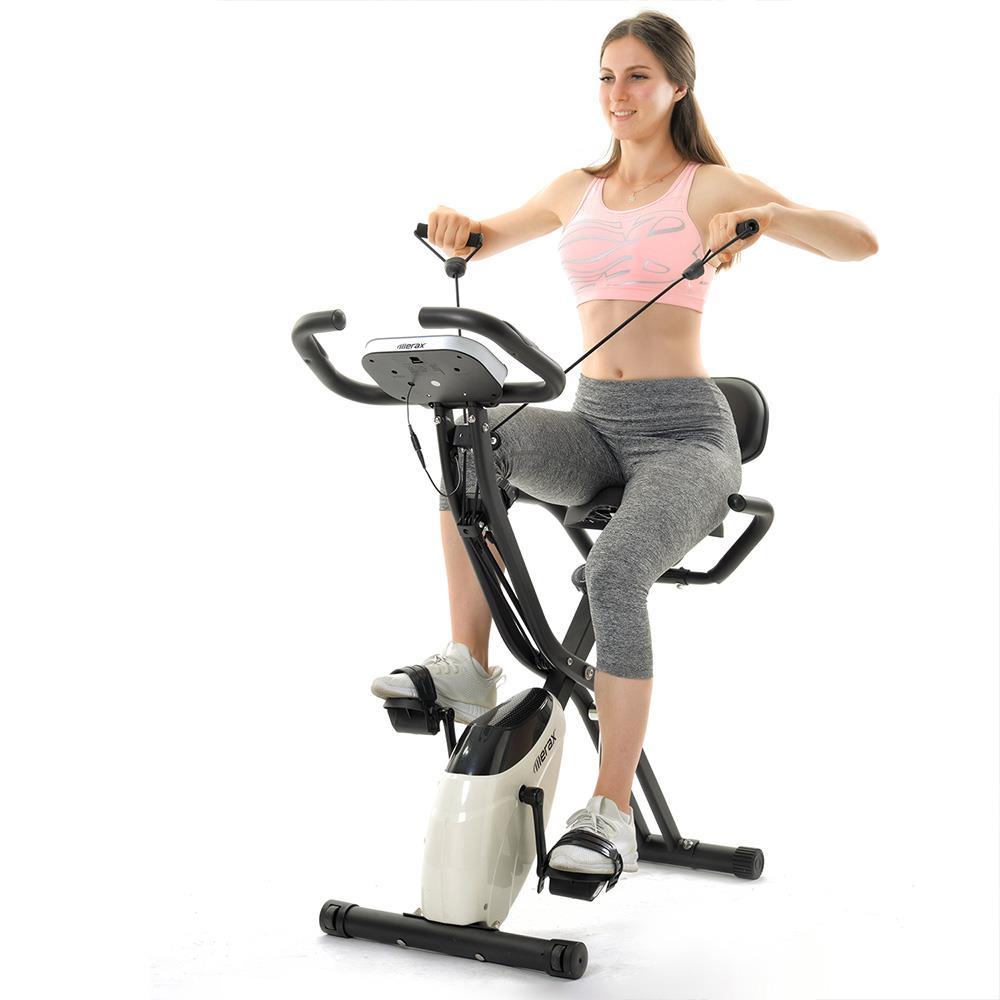 Merax X-Bike مغناطيسي قابل للطي دراجة رياضية 2.5 كجم حذافة عرض LCD لدراجات تمرينات القلب - أسود وأبيض